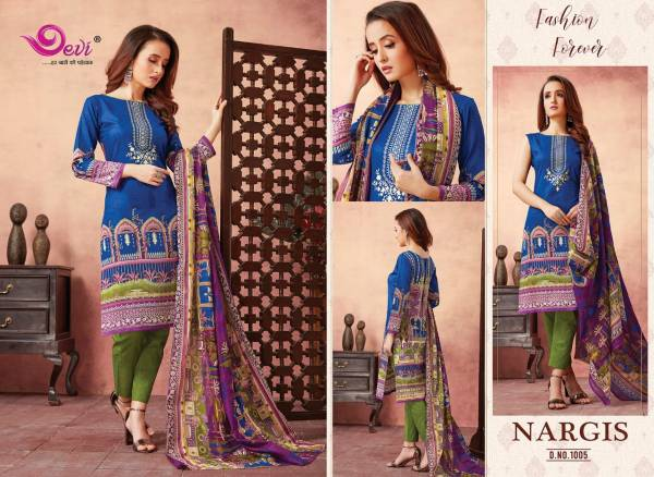 Devi Nargis Latest Casual Wear Pure Cotton Printed Dress Material Collection
