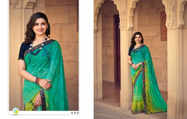 VINAY FASHION STARWALK VOL-63 Latest Fancy Casual Wear Printed Georgette Saree with Jacquard Border Saree Collection
