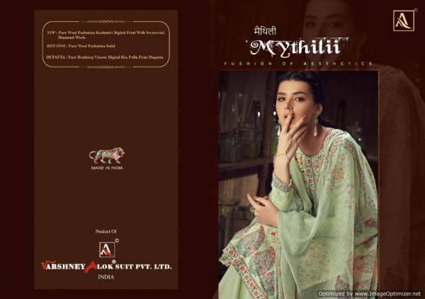 Alok Mythili Latest Collection Of Designer Pure Pashmina Kashmiri Digital Print Swarovski Diamond Work Dress Material