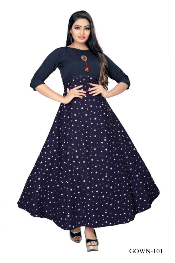 Latest Designer Round Neck Three Fourth Hand Full Gown Type Party Wear Casual Wear Anarkali Kurti Collection