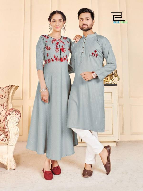 Blue Hills Love Birds Designer Party Wear Rayon Couple Kurta Latest Combo Collection