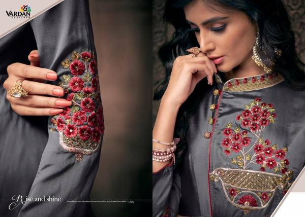 Vardan Navya Vol-12 Triva Satin With Embroidery Work inner Stiched Designer Gown Collections