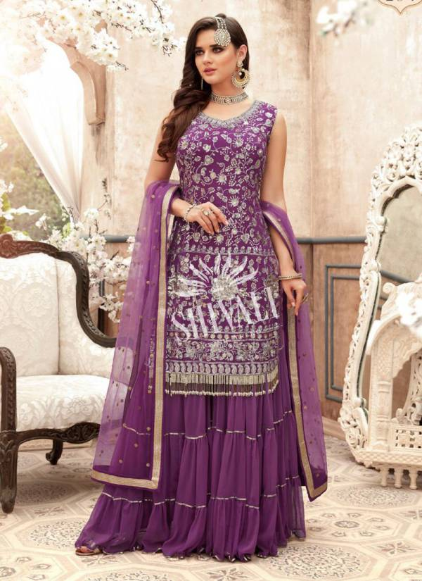Aisha vol 2 Purple Georgette Wedding Wear Embroidery Work Readymade Sharara Suit