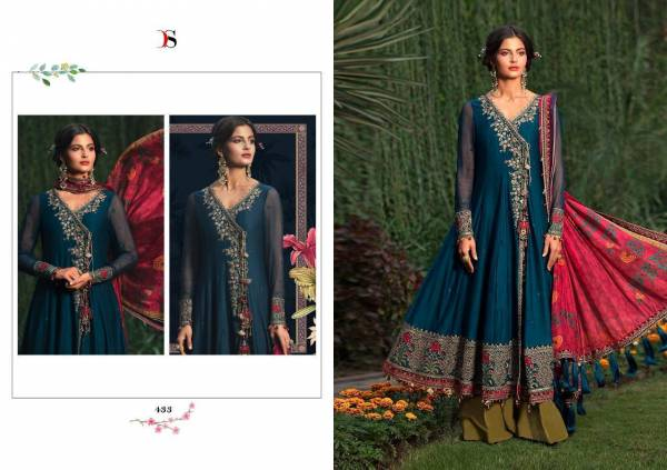 Deepsy Maria B Pure Rayon Cotton Net with Embroidery Tabby Silk Digital Print Designer Sharara Suit