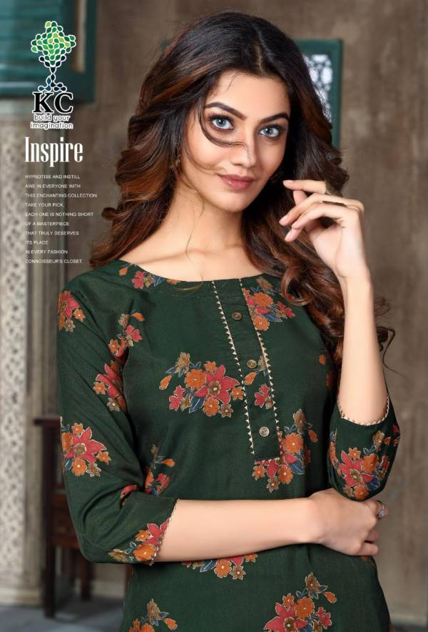 Kc Inspire Latest Designer Party Wear Printed Rayon Kurti With Bottom Collection