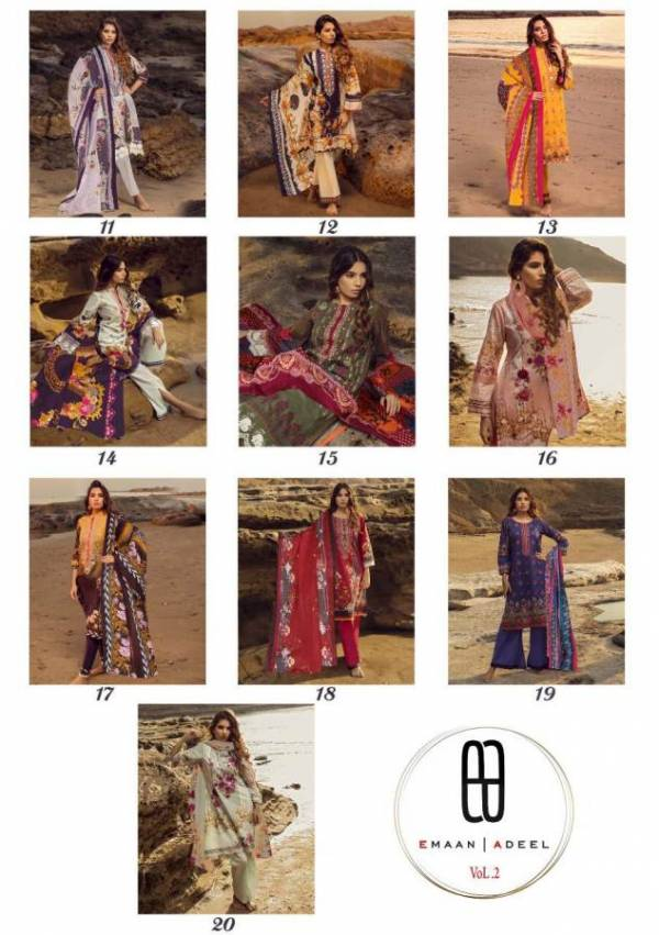 Emaan Adeel 2 Latest Collection of Designer Printed Pure Lawn Karachi Dress materials