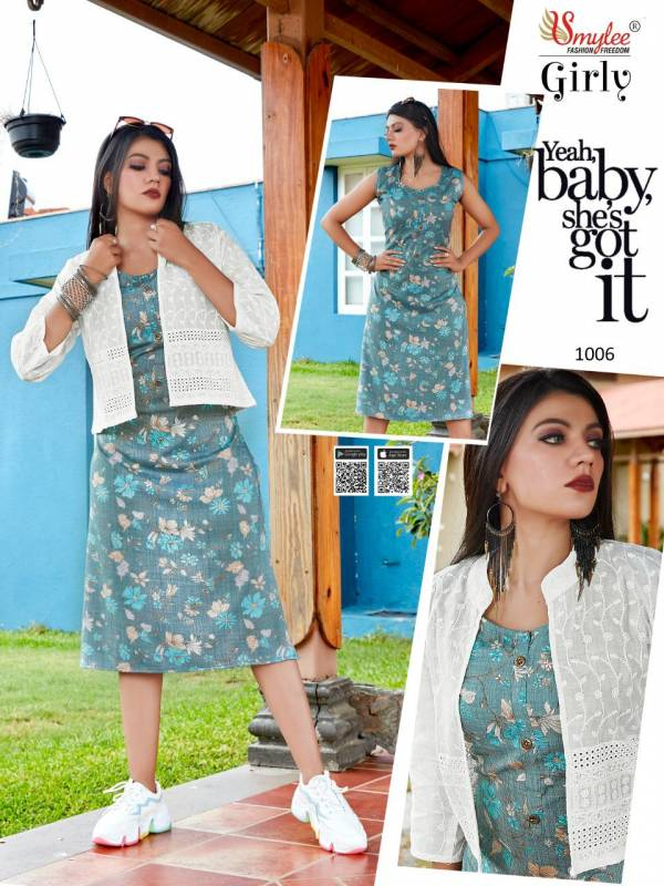 Smylee Girly Heavy Rayon Foil Printed Party Wear Kurti With Jacket Collection