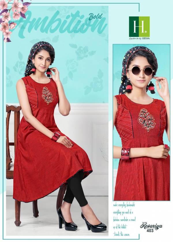 Hirwa Kesariya 4 Latest Designer Anarkali Style Casuaol Wear Rayon Kurtis Collection