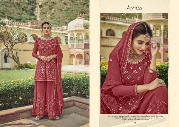 AAMYRA ZARKASH Latest Fancy Wedding Wear Heavy Georgette With Heavy Exclusive Mirror Embroidery And Diamond Work Salwar Suit Collection