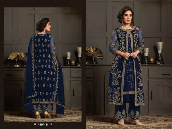 Super Hit 4594 Colors Latest Fancy Festive Wear Heavy Net with Embroidery And Cording Beautiful Ton To Ton Sequences Work Salwar Kameez Collection