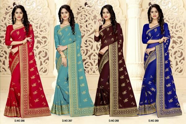 Kalista Latest Designer Embroidery Work Wedding Party Wear Saree Collection