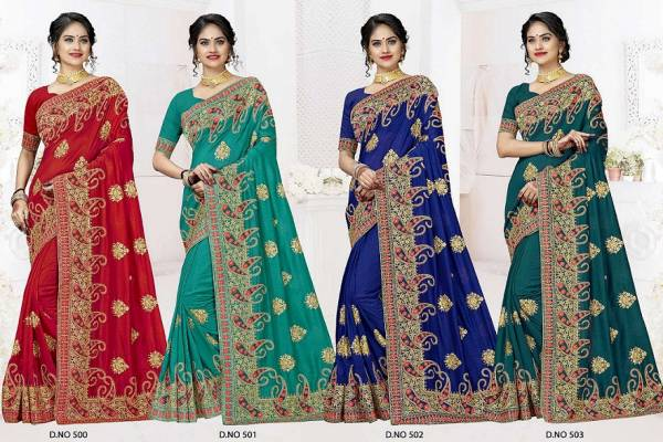 Kalista Heavy Designer Party Wear Wedding Bridal Vichitra Silk Embroidery Work Saree Collection