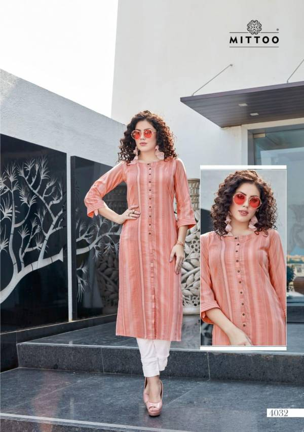 Mitto Mohini Weaving Strips Designer Party wear Kurtis with Rayon Slub Lycra Pant kurtis Collections