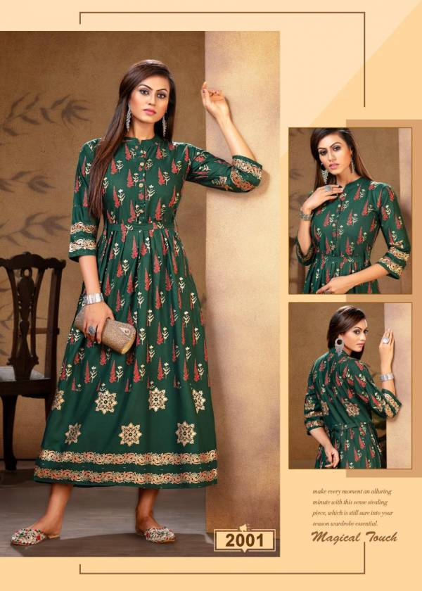 Ft Falak Repeat Latest fancy Designer Heavy Rayon Gold Print Stylish Look Kurti Collection