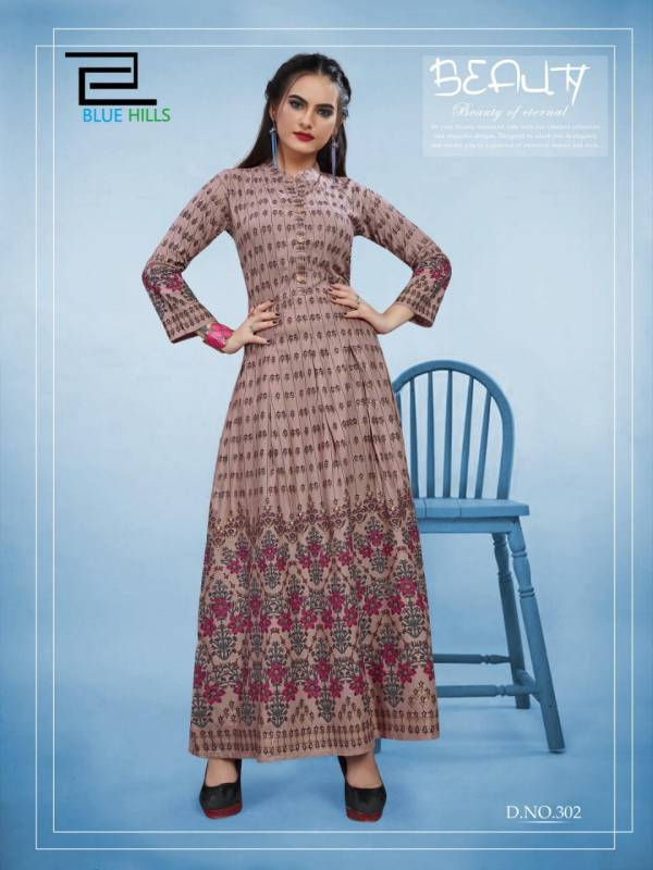 VF BLUE HILLS bournvilla volume 3 14KG REYON Long  Gown with Foil Print Collections