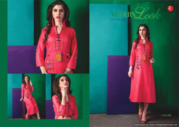 Saraa Launch New Latest Wonderful Party Wear Designer Kurti With Embroidery Work Three Fourth sleeves And Beautiful Neck Designs