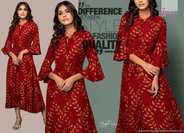 Psyna Pearl 6 Designer Printed Party Wear Heavy Rayon Gown Type Kurti Collection