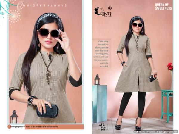 Kinti Blue Berry Latest Anarkali Style Short Designer Chex Print Side pocket Kurtis Collection