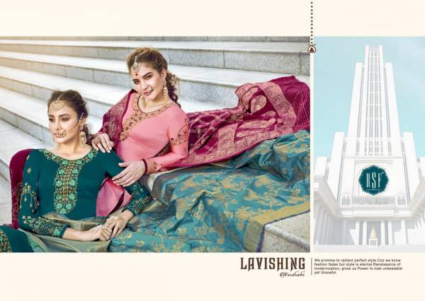RSF Gazal Heavy Sharara Fancy Work Georgette Satin Dress and Jacquard Dupatta Premium Dress