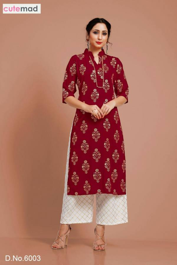 Cutemad Vol-6 Exclusive Malai Crape Party wear Kurtis With Palazzo Collection