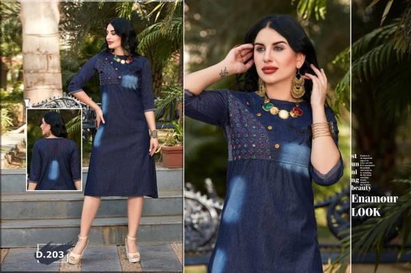 Trendy Destiny Blue Fancy Casual Wear Heavy denim cotton Designer Kurtis Collection