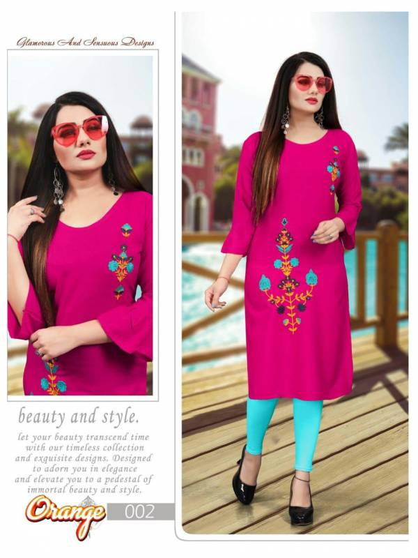 Trendy Aagya orange 2 Enthnic Regular Wear Latest Designer Kurti Collection
