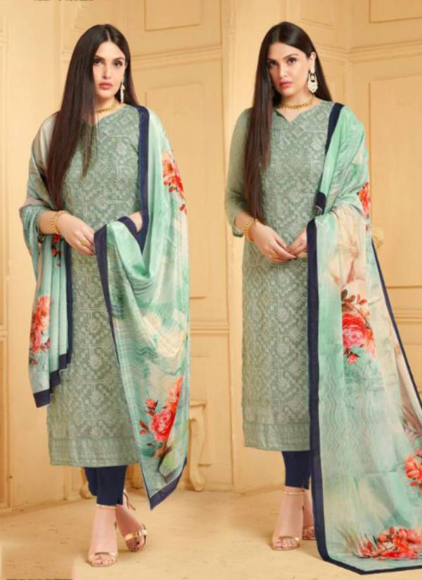 Dinnar 24 Plus Pure Chiffon Designer Party Wear Embroidered Chudidar Suit With Digital Print Dupatta Collection 3331-3338