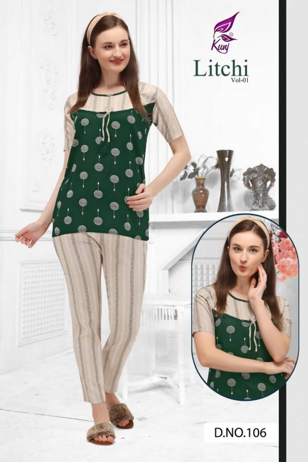 Kunj Litchi 1 oft Latest Exclusive Comfortable With Super Fine Stitching Rayon Night Suits Collection