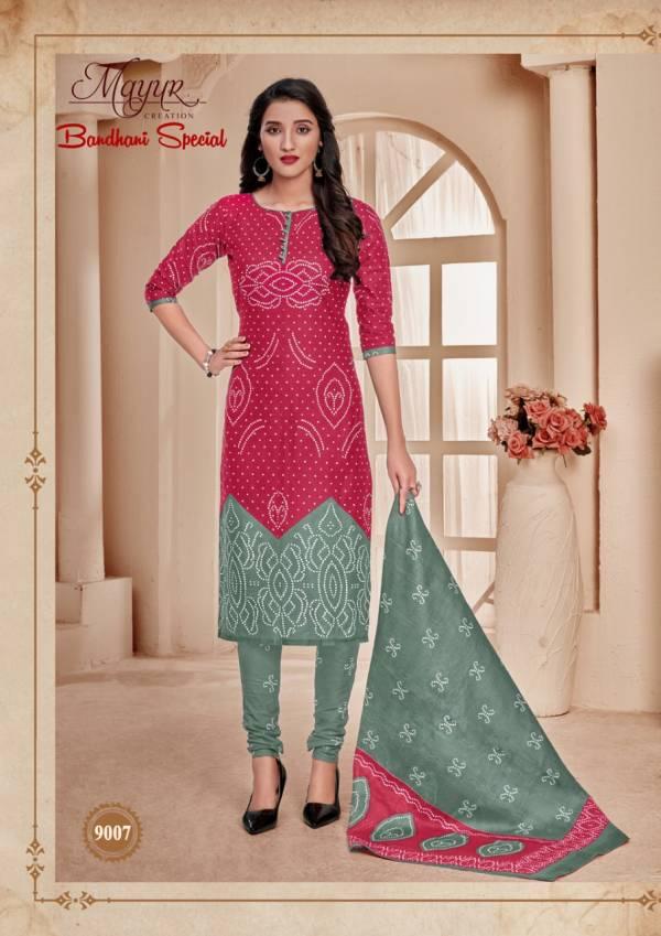 Mayur Bandhani Special 9 Latest Designer Bandhani Style Printed Cotton Dress Material Collection