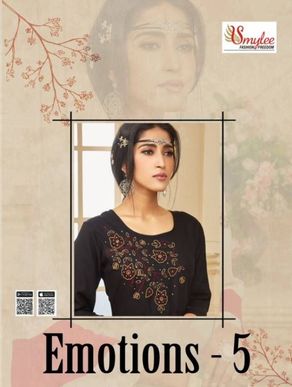 Smylee Emotions 5 New Collection Of Designer Party Wear Hand Work Rayon Kurtis
