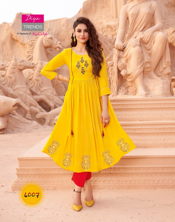 Ethnicity 6 Latest Fancy Festive Wear Designer Exclusive Rayon Embroidery Work Kurtis Collection