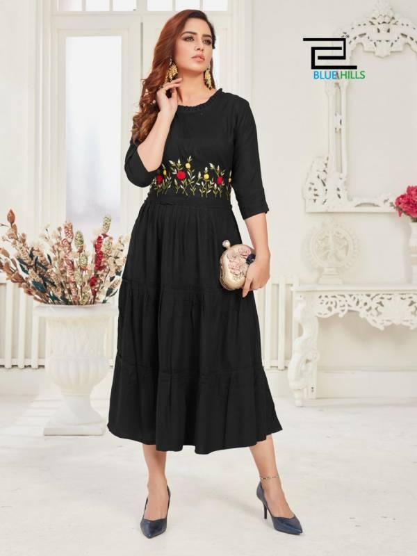 Blue Hills Mohini 1 Latest fancy Ethnic Wear Rayon Designer Long Kurtis Collection