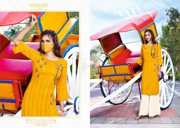 Lily & Lali Mystery Designer Partywear Fancy Rayon with Pattern Fabric Embroidery Kurtis with Gharara Collections