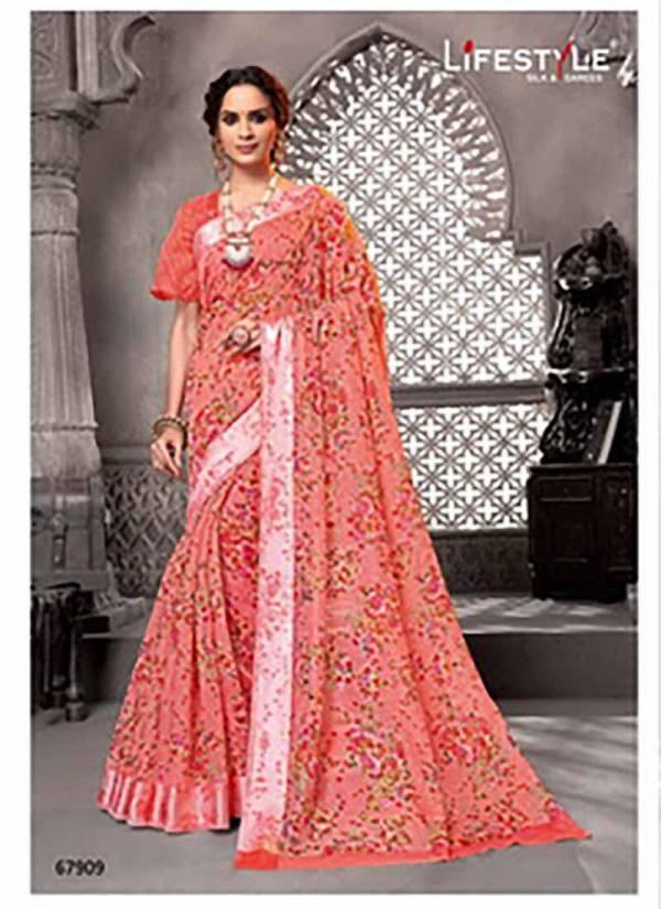 Lifestyle Pravina Cotton Vol - 5 Fancy Lilen Cotton Print Satin Border Sarees Collections