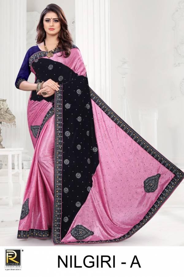 Ronisha Nilgiri Latest Designer Embroidery Worked Heavy Festive Wear Saree Collection