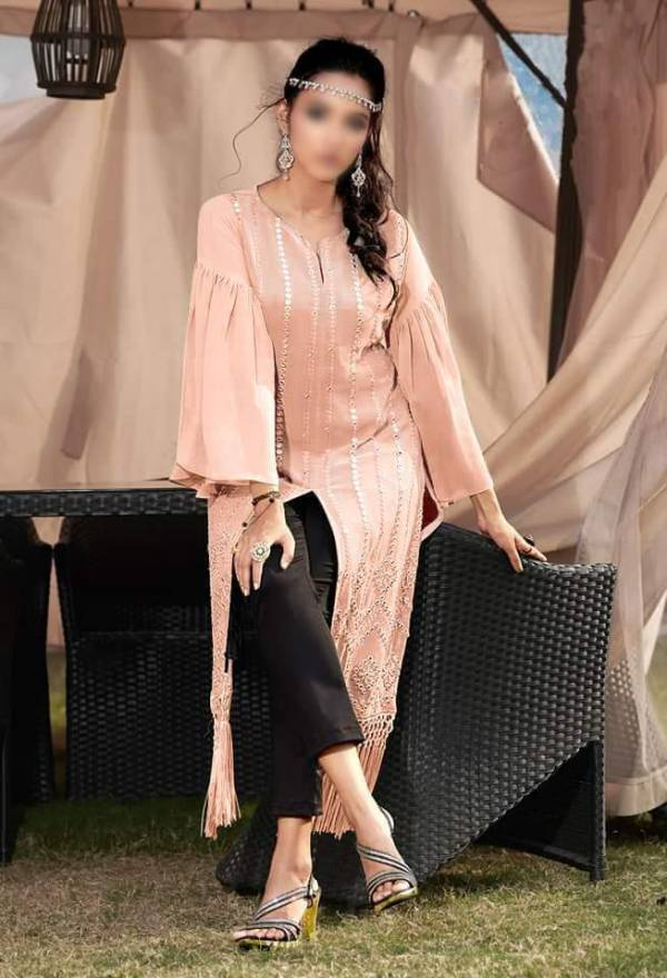 Hiba Studio LPC -24 Classy Metalic Collection Designer Tunic  with Beautiful  metalic embroidery  Embellished with handmade tassels paired with Designer Straight Cigarette pants
