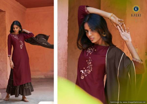 Kalki Mirrow Plus Latest Designer Festive Wear Pure Muslin Fancy Look Readymade Suit Collection With Gotapatti Work