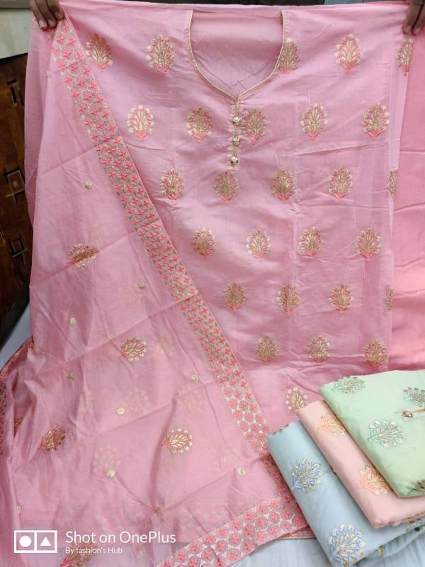 Heavy Chanderi Cotton Embroidered Work Churidar Dress Material Collection For Party And Functions