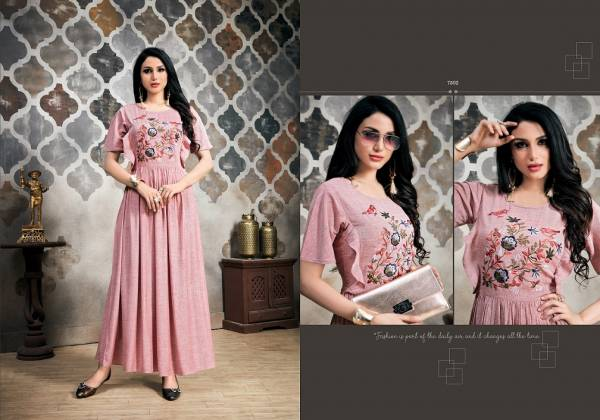 Latest Designer Heavy Cotton Party Wear Selfie Kurti Collection With Embroidery Work