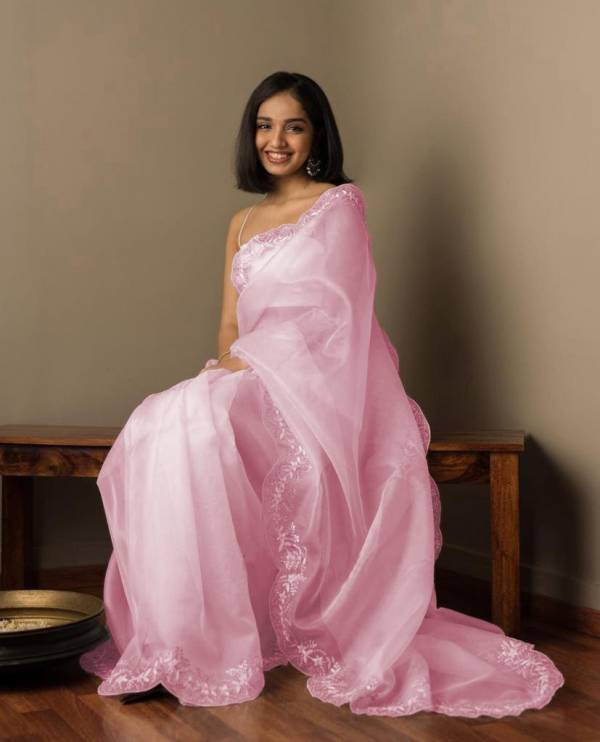 Amar Rainbow Organza Silk Embroidery Work Designer Party Wear Festival Saree Collections