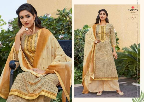 Ramaiya Rose Gold Latest Fancy Ethnic wear Cotton Print With Neck Work Top With Four Side less Dupatta Designer Dress Material Collection