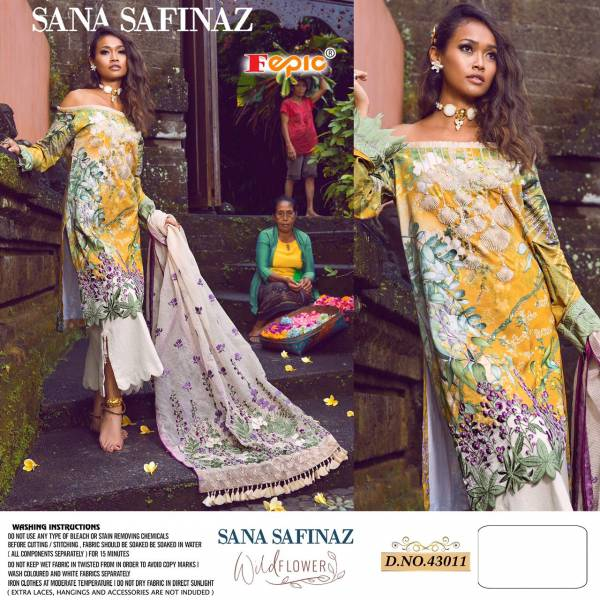 Fepic Rosemeen Sana Safinaz Wild Pure Cotton Digital Print With Embroidery Work Flower Pakistani Salwar Suits Collection