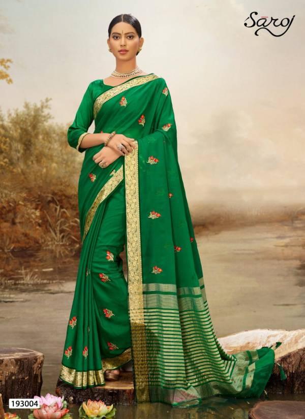Saroj  Noreen Latest Fancy Multi colore work and chit pallu and border Designer Soft Chiffon Saree Collection