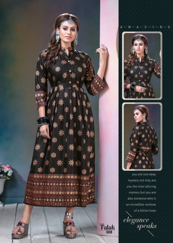 Falak Vol 3 Latest Designer Heavy Festive Wear Long Gown Style Rayon Kurti Collection