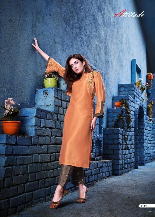 Attitude SHOW- ME Chinon Soft Silk Embroidered Premium Series of Kurti with Pant Classsy Style With it's Eye-Catching & Wonderful Collection
