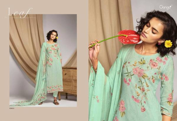 GANGA LEAF Latest Fancy Festive Wear Finest Cotton Linen Printed with Hand Work And Swarovski Work Heavy salwar suit Collection
