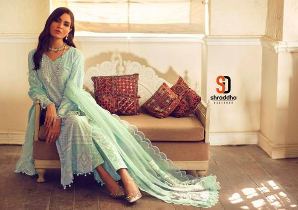 Shraddha Sana Safinaz 3 Pakistani Salwar Suits Collection Pure Cambric Cotton With Chicken Work And Heavy Embroidery