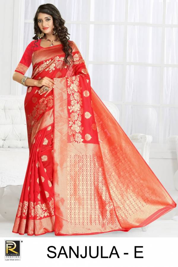 Ronisha Sanjula latest  Fancy Designer Festive Wear Heavy Silk Saree Collection
