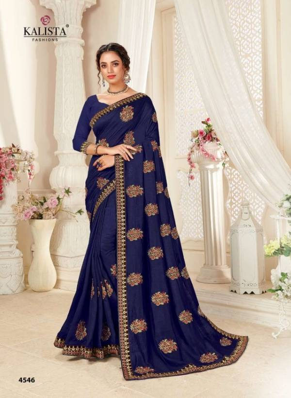 KALISTA EURO Latest Fancy Festive Wear Vichitra Silk Designer Embroidery Work saree Collection