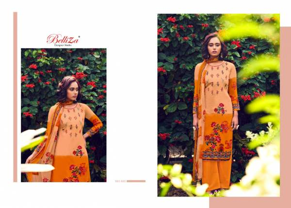 Belliza Rustic Garden Ethnic Wear Cotton Digital Print And Embroidery Work Top With Bemberg chiffon Dupatta Dress Materials Collection